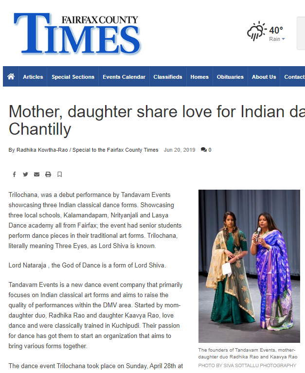 DC metro, Fairfax Times Feature Tandavam Radhika Rao Kaavya Rao - dance event company Northern VA Indian classical dance Trilochana Feature Press Release